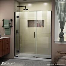 DreamLine D12914572-09 Unidoor-X 49 1/2-50 in. W x 72 in. H Frameless Hinged Shower Door in Satin Black