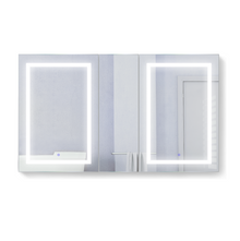 Krugg Svange6036DLRR 3 Door Mirror Medicine Cabinet 60 Inch W x 36 Inch w/Dimmer & Defogger - Right Hinge on Middle Door