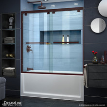 DreamLine SHDR-1660580-06 Encore 56-60 in. W x 58 in. H Semi-Frameless Bypass Tub Door in Oil Rubbed Bronze