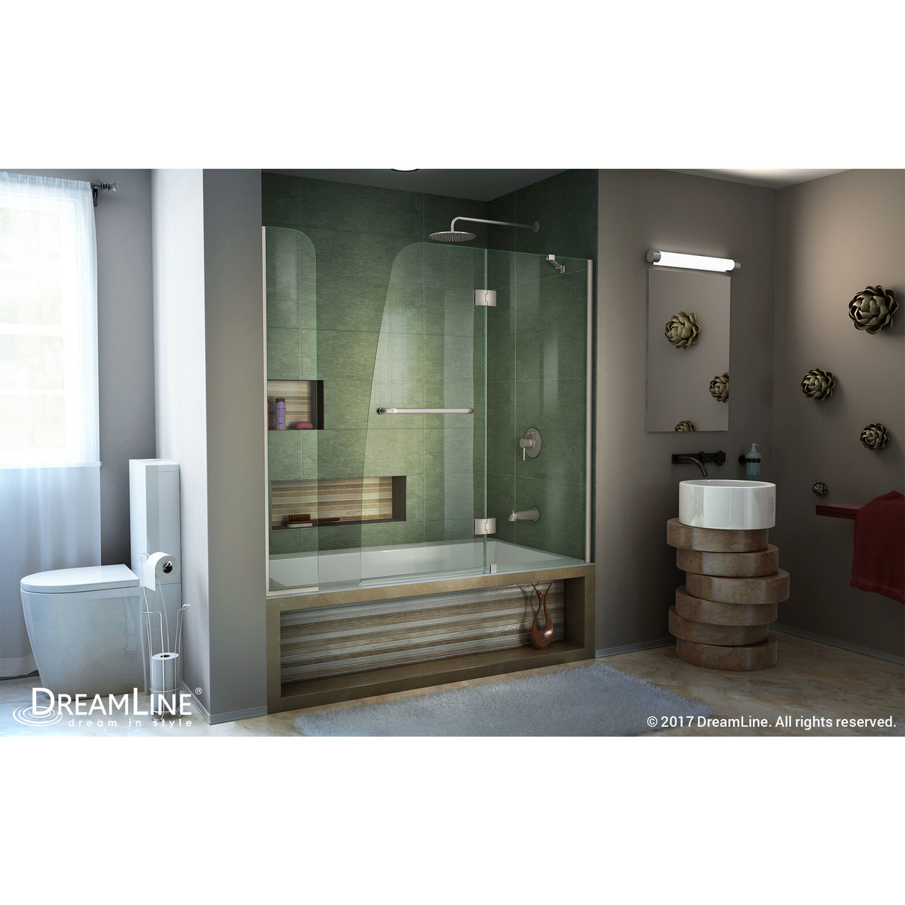 Dreamline Shdr 3148586 Ex 04 Aqua 56 60 In W X 58 In H Frameless Hinged Tub Door With Extender Panel In Brushed Nickel