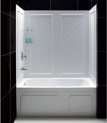 DreamLine SHBW-1360603-01 QWALL-Tub 56-60 in. W x 28-32 in. D x 60 in. H Acrylic Backwall Kit In White