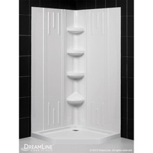 DreamLine DL-6043C-01 42 in. x 42 in. x 75 5/8 in. H Neo-Angle Shower Base and QWALL-2 Acrylic Corner Backwall Kit in White