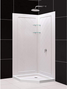 DreamLine DL-6045C-01 38 in. x 38 in. x 76 3/4 in. H Neo-Angle Shower Base and QWALL-4 Acrylic Corner Backwall Kit in White