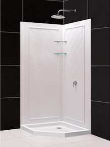 DreamLine DL-6047C-01 42 in. x 42 in. x 76 3/4 in. H Neo-Angle Shower Base and QWALL-4 Acrylic Corner Backwall Kit in White