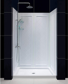 DreamLine DL-6070C-01 32 in. D x 48 in. W x 76 3/4 in. H Center Drain Acrylic Shower Base and QWALL-5 Backwall Kit In White