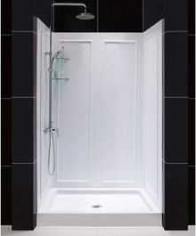 DreamLine DL-6071C-01 34 in. D x 48 in. W x 76 3/4 in. H Center Drain Acrylic Shower Base and QWALL-5 Backwall Kit In White