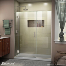 DreamLine D1241472-04 Unidoor-X 44-44 1/2 in. W x 72 in. H Frameless Hinged Shower Door in Brushed Nickel
