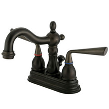 "Kingston Brass Two Handle 4"" Centerset Lavatory Faucet with Brass Pop-Up Drain - Oil Rubbed Bronze KS1605ZL"