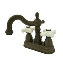 "Kingston Brass Two Handle 4"" Centerset Lavatory Faucet with Brass Pop-Up Drain - Oil Rubbed Bronze KS1605PX"