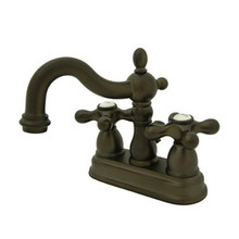 "Kingston Brass Two Handle 4"" Centerset Lavatory Faucet with Brass Pop-Up Drain - Oil Rubbed Bronze KS1605AX"