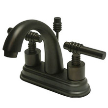 "Kingston Brass Two Handle 4"" Centerset Lavatory Faucet with Brass Pop-Up Drain - Oil Rubbed Bronze KS8615ML"