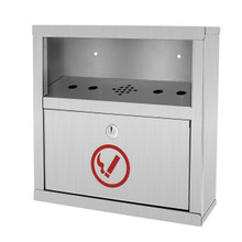 Alpine 490-02-SS Stainless Steel Quick Clean Wall Mounted Cigarette Disposal Bin