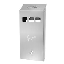 Alpine 490-03-SS Stainless Steel Wall-Mounted Cigarette Disposal Tower