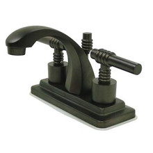 "Kingston Brass Two Handle 4"" Centerset Lavatory Faucet with Brass Pop-Up Drain - Oil Rubbed Bronze KS4645ML"