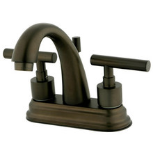 "Kingston Brass Two Handle 4"" Centerset Lavatory Faucet with Brass Pop-Up Drain - Oil Rubbed Bronze KS8615CML"