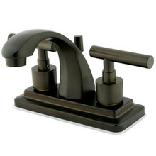 "Kingston Brass Two Handle 4"" Centerset Lavatory Faucet with Brass Pop-Up Drain - Oil Rubbed Bronze KS4645CML"