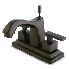 """Kingston Brass Two Handle 4"""" Centerset Lavatory Faucet with Brass Pop-Up Drain - Oil Rubbed Bronze KS8645QLL"""