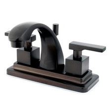 "Kingston Brass Two Handle 4"" Centerset Lavatory Faucet with Brass Pop-Up Drain - Oil Rubbed Bronze KS4645QLL"