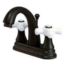 "Kingston Brass Two Handle 4"" Centerset Lavatory Faucet with Brass Pop-Up Drain - Oil Rubbed Bronze KS7615PX"