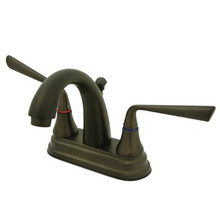 "Kingston Brass Two Handle 4"" Centerset Lavatory Faucet with Brass Pop-Up Drain - Oil Rubbed Bronze KS7615ZL"