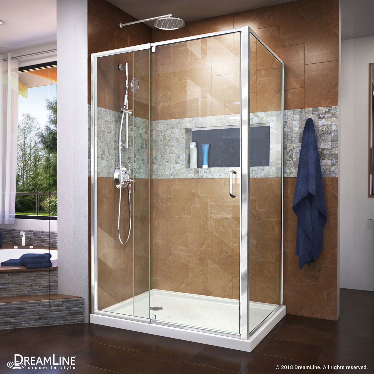 Dreamline Dl 6719l 01cl Flex 36 In D X 48 In W X 74 3 4 In H Semi Frameless Pivot Shower Enclosure In Chrome With Left Drain White Base Kit