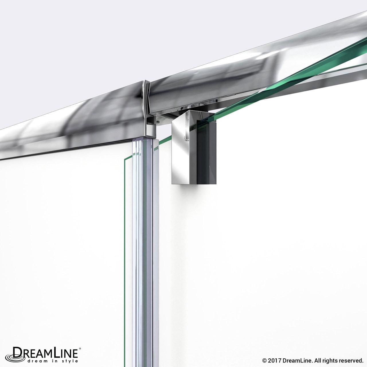 Dreamline Dl 6720l 01cl Flex 36 In D X 60 In W X 74 3 4 In H Semi Frameless Pivot Shower Enclosure In Chrome With Left Drain White Base Kit