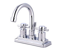 """Kingston Brass Two Handle 4"""" Centerset Lavatory Faucet with Brass Pop-Up Drain - Polished Chrome KS8661DX"""
