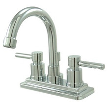 """Kingston Brass Two Handle 4"""" Centerset Lavatory Faucet with Brass Pop-Up Drain - Polished Chrome KS8661DL"""