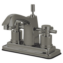 """Kingston Brass Two Handle 4"""" Centerset Lavatory Faucet with Brass Pop-Up Drain - Satin Nickel KS8648DX"""