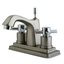 """Kingston Brass Two Handle 4"""" Centerset Lavatory Faucet with Brass Pop-Up Drain - Satin Nickel/Polished Chrome KS8647DX"""