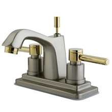 """Kingston Brass Two Handle 4"""" Centerset Lavatory Faucet with Brass Pop-Up Drain - Satin Nickel/Polished Brass"""