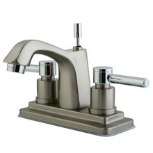 """Kingston Brass Two Handle 4"""" Centerset Lavatory Faucet with Brass Pop-Up Drain - Satin Nickel/Polished Chrome"""