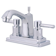 """Kingston Brass Two Handle 4"""" Centerset Lavatory Faucet with Brass Pop-Up Drain - Polished Chrome KS8641DL"""
