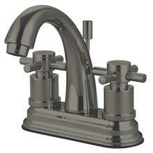 """Kingston Brass Two Handle 4"""" Centerset Lavatory Faucet with Brass Pop-Up Drain - Satin Nickel KS8618DX"""