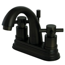 "Kingston Brass Two Handle 4"" Centerset Lavatory Faucet with Brass Pop-Up Drain - Oil Rubbed Bronze KS8615DX"