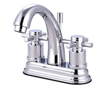 """Kingston Brass Two Handle 4"""" Centerset Lavatory Faucet with Brass Pop-Up Drain - Polished Chrome KS8611DX"""