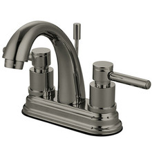 """Kingston Brass Two Handle 4"""" Centerset Lavatory Faucet with Brass Pop-Up Drain - Satin Nickel KS8618DL"""