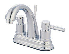 """Kingston Brass Two Handle 4"""" Centerset Lavatory Faucet with Brass Pop-Up Drain - Polished Chrome KS8611DL"""