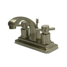 """Kingston Brass Two Handle 4"""" Centerset Lavatory Faucet with Brass Pop-Up Drain - Satin Nickel KS4648DX"""