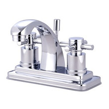 """Kingston Brass Two Handle 4"""" Centerset Lavatory Faucet with Brass Pop-Up Drain - Polished Chrome KS4641DX"""