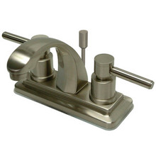 """Kingston Brass Two Handle 4"""" Centerset Lavatory Faucet with Brass Pop-Up Drain - Satin Nickel KS4648DL"""