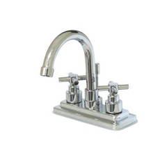 """Kingston Brass Two Handle 4"""" Centerset Lavatory Faucet with Brass Pop-Up Drain - Polished Chrome KS8661EX"""