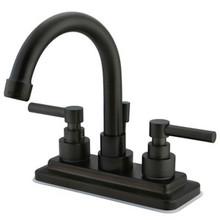 "Kingston Brass Two Handle 4"" Centerset Lavatory Faucet with Brass Pop-Up Drain - Oil Rubbed Bronze KS8665EL"
