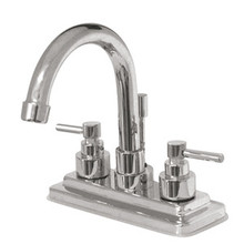 """Kingston Brass Two Handle 4"""" Centerset Lavatory Faucet with Brass Pop-Up Drain - Polished Chrome KS8661EL"""