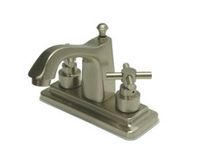 """Kingston Brass Two Handle 4"""" Centerset Lavatory Faucet with Brass Pop-Up Drain - Satin Nickel KS8648EX"""