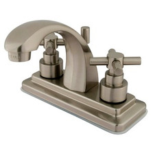 """Kingston Brass Two Handle 4"""" Centerset Lavatory Faucet with Brass Pop-Up Drain - Satin Nickel KS4648EX"""