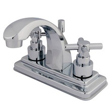 """Kingston Brass Two Handle 4"""" Centerset Lavatory Faucet with Brass Pop-Up Drain - Polished Chrome KS4641EX"""