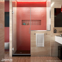 DreamLine SHDR-24273034-01 Unidoor Plus 57-57 1/2 in. W x 72 in. H Frameless Hinged Shower Door with 34 in. Half Panel in Chrome