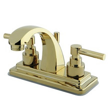"""Kingston Brass Two Handle 4"""" Centerset Lavatory Faucet with Brass Pop-Up Drain - Polished Brass"""
