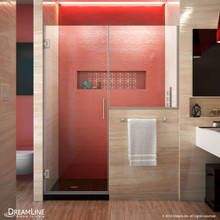 DreamLine SHDR-24283634-04 Unidoor Plus 64-64 1/2 in. W x 72 in. H Frameless Hinged Shower Door with 34 in. Half Panel in Brushed Nickel